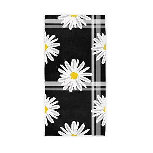 Mr.XZY Toalla de margarita con diseño de flores blancas y plantas, toalla multiusos suave 2010028