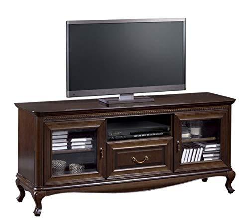 Casa Padrino Luxus Jugendstil Sideboard Dunkelbraun 152 x 45,6 x H. 68,2 cm - Fernsehschrank mit 2 Glastüren und Schublade - Wohnzimmermöbel