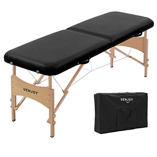 Uenjoy Lit de massage 72 '' Table de massage pliante professionnelle, 2 plis, base & Portable, Noir