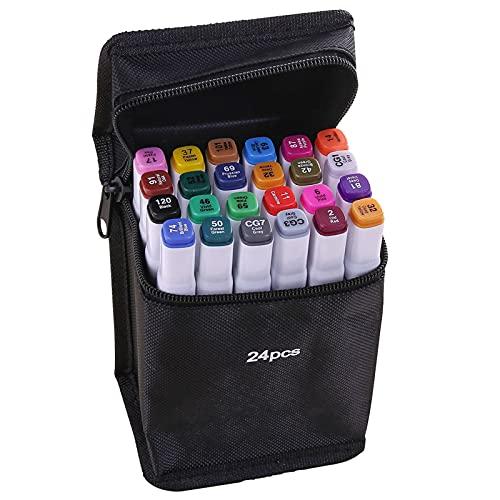 Staright Marcadores de 24 cores Caneta Marcadora de ponta dupla Esboço Escrita Pintura Marcador sublinhado Artista Desenhando Marcadores de arte de duas pontas com bolsa de armazenamento com zíper