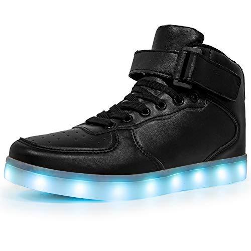 Wajin - Zapatillas de deporte con luz LED para niños y niñas, para regalo con carga USB intermitente, Negro, 21 MX Niño pequeño