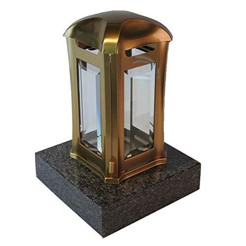designgrab Grablampe Venezia aus Edelstahl messingfarben mit Granitsockel aus Granit Nero Impala/Astor