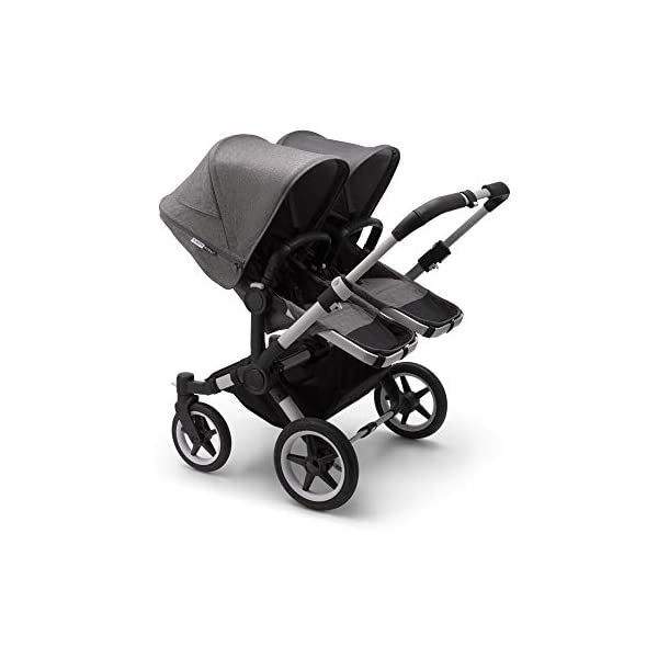 Bugaboo Donkey 3 Twin Extention Set Complete - converts Single into Twin Side by Side pram and Pushchair, Foldable Lightweight Stroller with Grey mélange Sun Canopy and Aluminium Chassis Bugaboo Grows with your family: With two children to think about, the Mono single pushchair converts to a Twin pram or Duo carrycot and pushchair with separately available extension sets Smaller than you think: Expands to just 74 cm wide in Duo or Twin mode fitting standard doorways, folds to carry, extra storage space and durable materials, the only pushchair your family will need Lightens your ride: Easy to manoeuvre with 1 hand steering, large tires ensure a safe, smooth ride on all terrain even if fully loaded, it can hold up to 22 kg making it suitable from birth to toddler 2