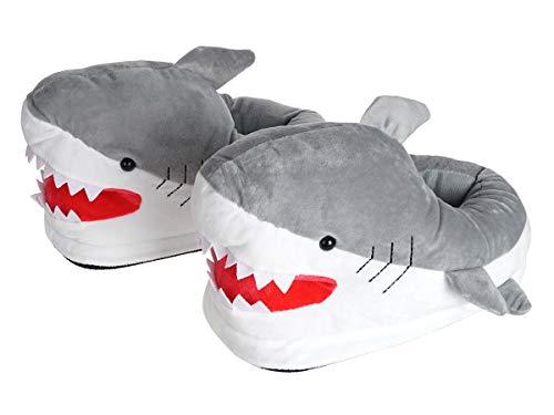 CoolChange Der weiße Hai kuschelig warme Haifisch grusel Hausschuhe, Grau