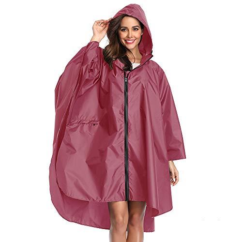 Summer Mae Cappotto Impermeabile Poncho Pioggia Cappotto Colorblock con Cappuccio Rosa