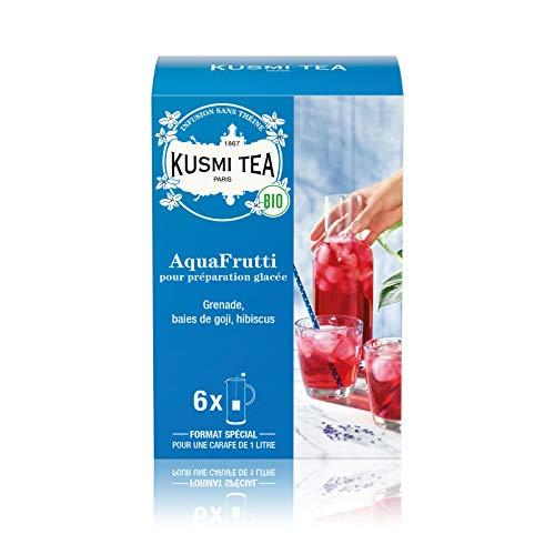 Kusmi Tea - Infusión ecológica AquaFrutti - Mezcla de hibisco y sabor a fruta - Manzana, granada, bayas de Goji - Tisana ecológica sin teína, a granel - Caja de 6 bolsitas grandes para té frio - 48 g