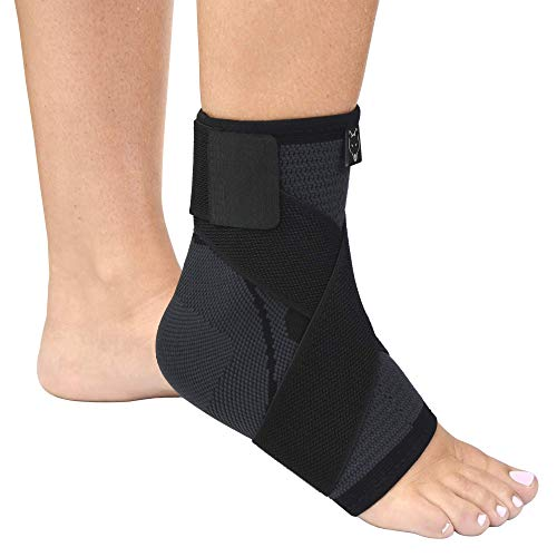 Dr. Wolf Ankle Compression Sleeve - Breathable Foot Brace For Achilles Tendonitis, Sprains, & Strains Pain Relief For Men & Women - Heel Support For Volleyball, Tennis, Basketball, Kickboxing, Soccer - Large