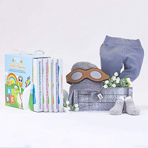 BebeDeParis   Regalos Originales para Bebés Recién Nacidos   Canastilla Especial Libros Nicky y Complementos   3-6 Meses (Gris)