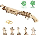 GRASSAIR Rompecabezas de Madera 3D Modelo de Pistola de Juguetes M60 DIY Puzzle Toy Set con Banda de Goma y 5 Villanos Kit de ensamblaje Woodcraft niños Adolescentes