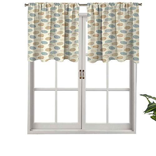 Hiiiman Cenefa de cortina con bolsillo para barra de visillo, aislamiento térmico, iconos artísticos con intrincados adornos florales, juego de 1, 137 x 45 cm para dormitorio, baño y cocina