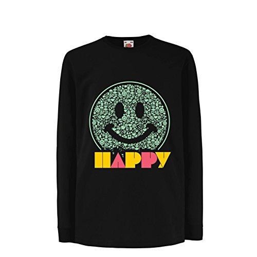 lepni.me Camiseta para Niños Emoción Sonriente Inspiradora Emoción Feliz Emoticón (3-4 Years Negro Multicolor)