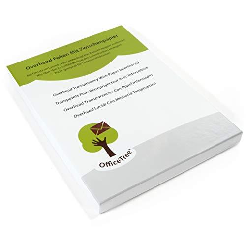 OfficeTree® 50 Blatt hochwertige Overheadfolien - DIN A4 transparent - Laserdrucker Kopierer OHP - für beste Druck- und Projektions-Qualität