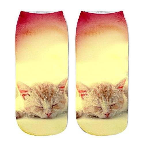 KPILP 1 Paar Beliebte Lustige Sneakersocken Unisex Baumwolle Kurze Socken 3D Katze Gedruckt Fußkettchen Socken Casual Freizeitsocken,A1