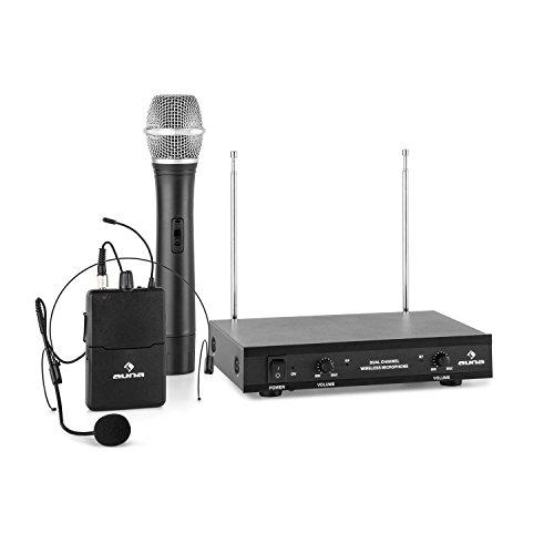 auna VHF-2-H-HS - 2-Kanal VHF-Funkmikrofon Set, Funk-Mikrofon System, 1 x kabelloses Handmikrofon, 1 x kabelloses Headset Mikrofon, 50 m Reichweite, Lautstärkeregler, schwarz