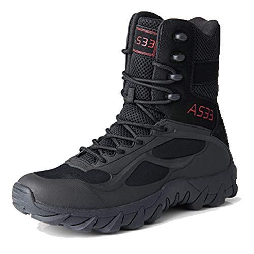 snfgoij Botas tácticas Hombres Tamaño 6 Zapatos Militares Botas de Senderismo al Aire Libre con Cremallera Otoño Invierno Zapatos de Entrenamiento Transpirables, black-40(UK6)