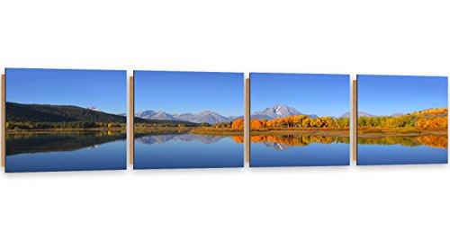 Feeby Frames, Tableau Mural - 4 Parties - Panoramique, Tableau Déco, Tableau imprimé, Tableau Deco Panel, 30x120 cm, Paysage, Vue, Eau, Arbres, Montagnes, Nature, Bleu, Vert