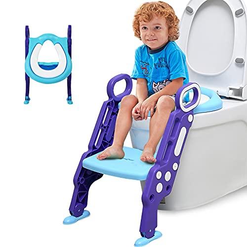 Barakara Asiento Inodoro Niños para Infantil Formación, Adaptador WC Niños con Escalera 2 Banda de Rodadura Extra Ancha y Antideslizante Cojín Blando, Capacidad de carga máxima de 75 kg(Azul)