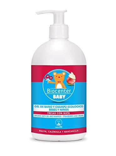 Gel de baño y Champú ecológico para niños - Fresas con Nata - 500 ml - Biocenter