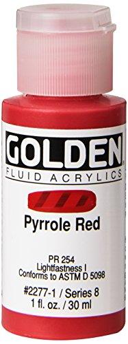 Golden Fluid Acrylics - Pyrrole Red - 1 oz Bottle