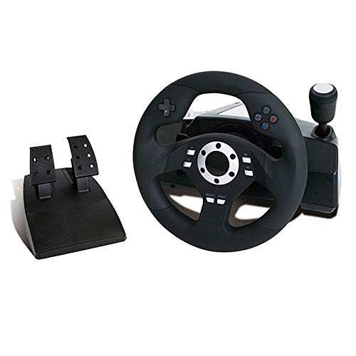 WRISCG Volante de Carreras con Pedales, paletas y Palanca de Cambios, para PS3 PS2 PC, Ángulo de rotación de 270 °, Motor De Vibración Dual, Pedal de señal analógica Lineal