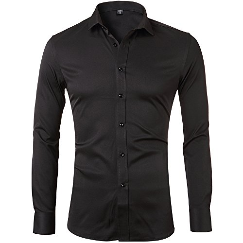 Mens Bamboo Fiber Dress Shirts Slim Fit Solid Long Sleeve Casual Button Down Shirts Elastic Formal Shirts for MenBlack Shirts 15″Neck 33″Sleeve