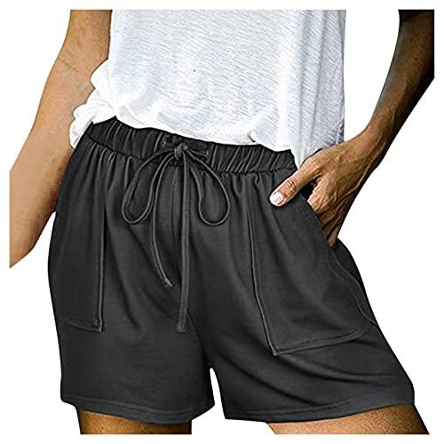 FDGHJ Women's Casual Summer Drawstring Comfortable Sports Elastic High Waist Shorts Gray