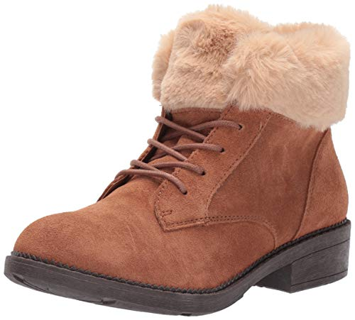 Skechers Women's ELM-Shot Lace Up Boot with Faux Fur Collar Fashion, Brown, 10 M US