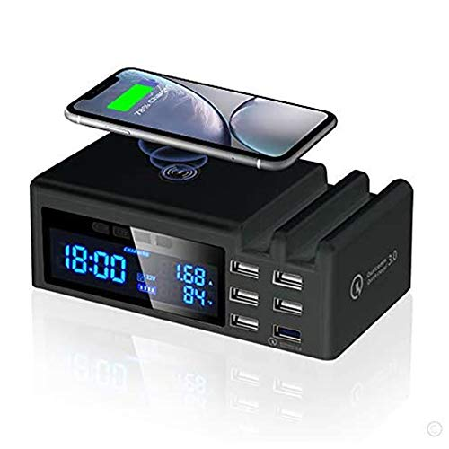 AFKK Reloj Despertador, Altavoz Bluetooth Carga inalámbrica, Pantalla Dual Dimmable LED Pantalla para iPhone Tableta de teléfono móvil Android,Negro