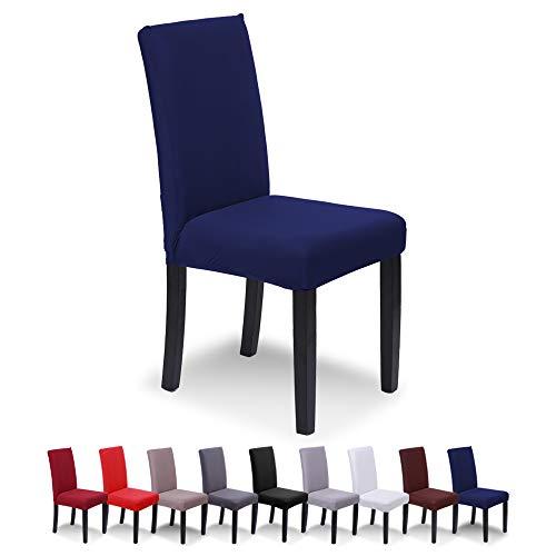 SaintderG® Fundas para sillas Pack de 6 Fundas sillas Comedor, Lavable Extraíble Funda, Muy fácil de Limpiar, Duradera Modern Bouquet de la Boda, Hotel, Decor Restaurante (Azul Marino, Pack de