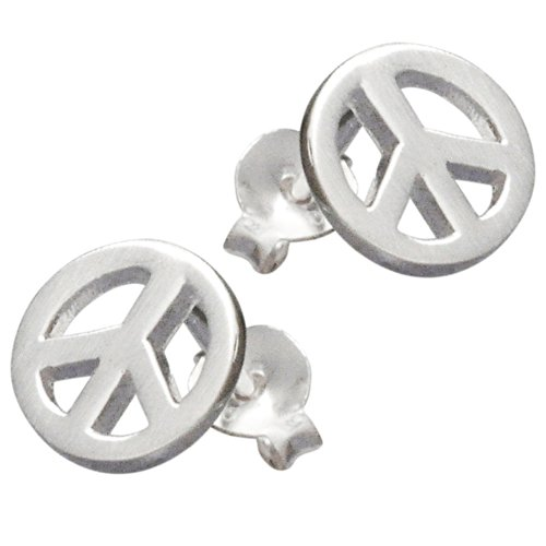 Vinani Ohrstecker Peace Love mattiert Sterling Silber 925 Ohrringe OPZ