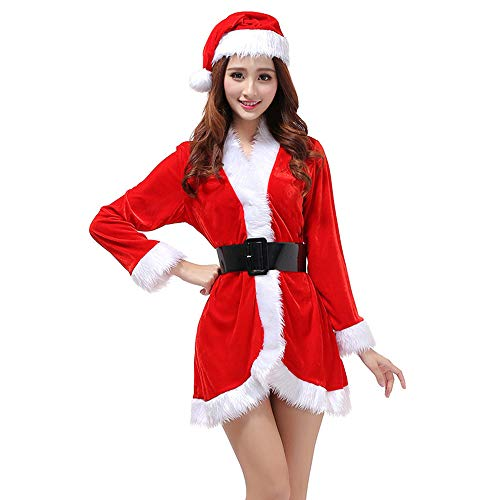 Women Santa Claus Costumes Suit Mrs Santa Cosplay Costume Outfit Dress One Size with Belt and Hat(3 Piece)