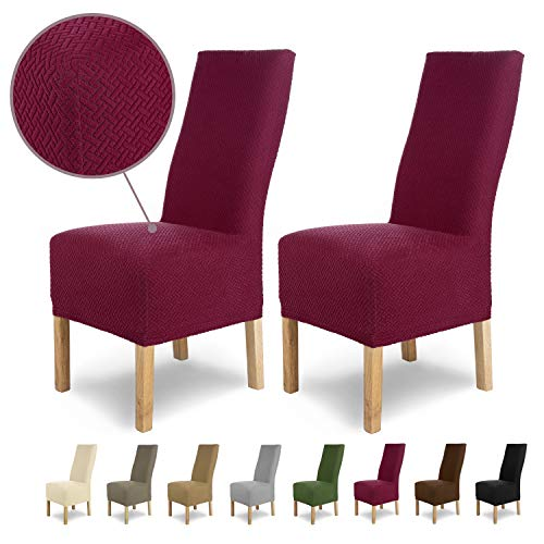 SCHEFFLER-Home Stretch Stuhlhusse Luna-Lang | 2er Set elastische Flanell Stuhlabdeckungen | Stuhlhussen Schwingstühle | Spannbezug mit...