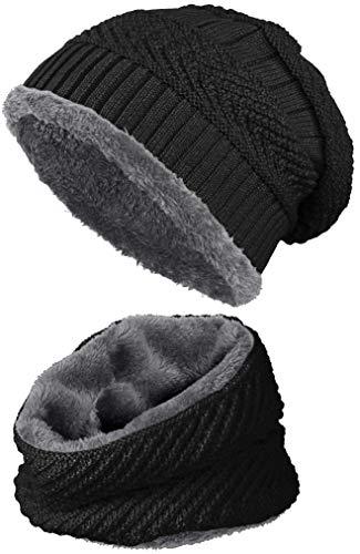 warm gefütterte Beanie + Schal mit Teddy-Fleece Fütterung mit Flechtmuster Wintermütze Einheitsgröße für Damen & Herren Mütze (4A) (Schwarz/Dunkelgrau)