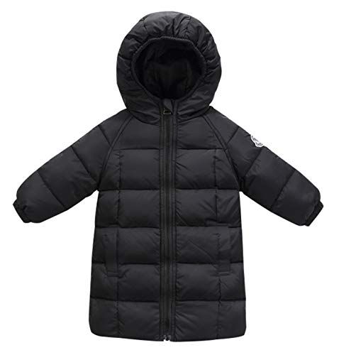 Happy Cherry Little Boys Lightweight Hooded Down Jacket Packable Slim Down Coat Puffer Snowsuit Outdoor Sports Travel Overcoat Outerwear Black 1-2 T