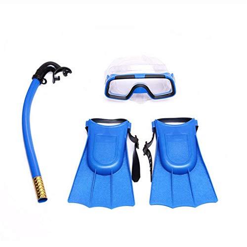 Molinter Kinder Schnorchel Set Tauchmaske Taucherbrille mit Schnorchel Silikon-Flossen Für Jungen Mädchen Junior Schnorchelausrüstung (Blau, Flossen Size:30-35)