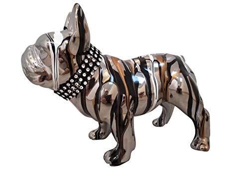 Laure TERRIER Salvadanaio, Cane Bulldog Francese in Ceramica Argento, Modello Garence, Decorazione Lunghezza 17 Centimetri