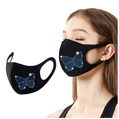 s adultes Flash diamant imprimé papillon réutilisable en plein air respirant mode glace soie facial 1 PC AFFGEQA