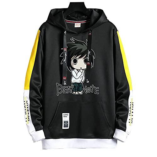XWKKY Death Note Contraste Color Pullover Sudadera con Capucha para Hombre Patchwork Sudaderas Hombres Sudadera con Capucha Falso Dos Sudaderas con Capucha XL