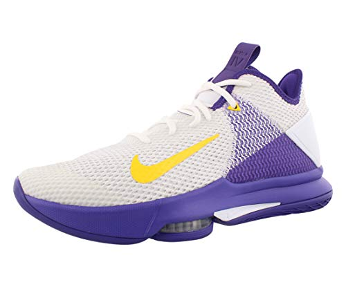Nike Lebron Witness IV, Zapatillas de Baloncesto Hombre, Multicolor (White/Amarillo/Field Purple 100), 43 EU