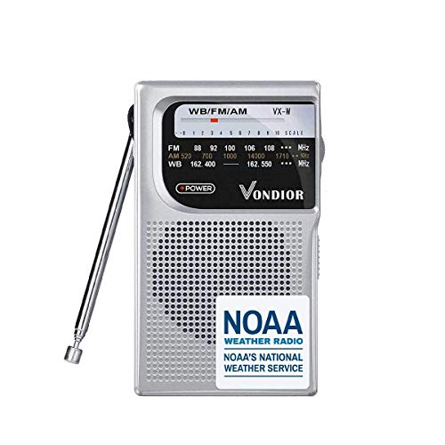 NOAA Weather Radio - Emergency NOAA AM FM Battery Operated Portable Radio with Best Reception and Longest Lasting Transistor. Powered by 2 AA Battery with Mono Headphone Socket, by Vondior (Silver)