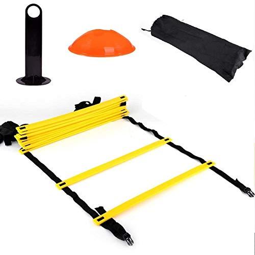 Escalera de agilidad ajustable con bolsa de transporte, escaleras de entrenamiento de velocidad, juego de entrenamiento de agilidad para baloncesto de fútbol, 12 peldaños planos ajustables y 10 conos