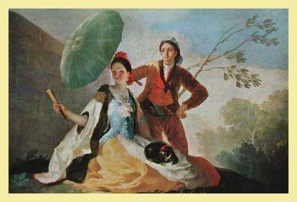 Francisco Goya Der Sonnenschirm Poster Bild Kunstdruck im Alu Rahmen in hellgold 39x51cm