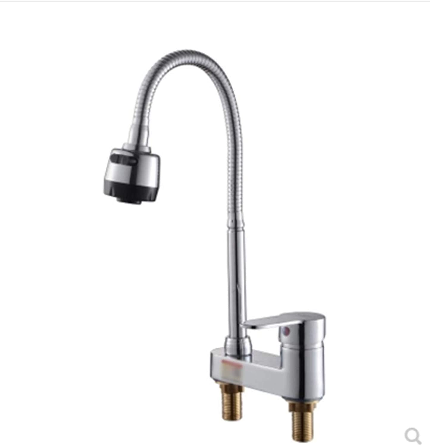 Ldoons Kitchen bathroom copper basin bathroom hot and cold three holes B faucet