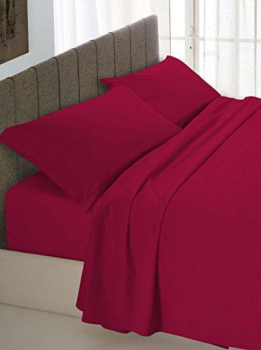 Italian Bed Linen Max Color Completo Letto, 100% Cotone, Bordeaux, 2 Posti