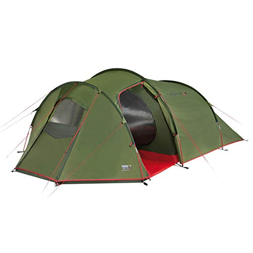 High Peak Tunnel tent trekking tent for 4 people with large storage space, camping tent with tent floor, 2 entrances, 3,000 mm waterproof, weather protection entrance, inner tent pre-assembled.