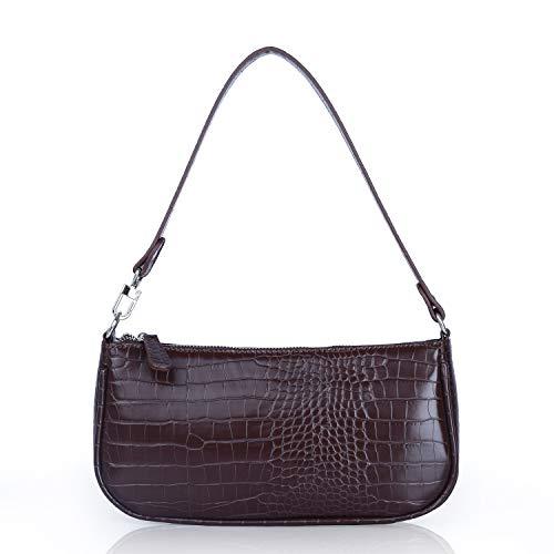 Classic Crocodile Pattern Clutch Shoulder Baguette Bag with Zipper Closure for Women (Crocodile Pattern-BN)