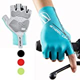 Hikenture Half Finger Cycling Gloves for Men and Women Padded Road Bike Gloves (Blue, XXL)