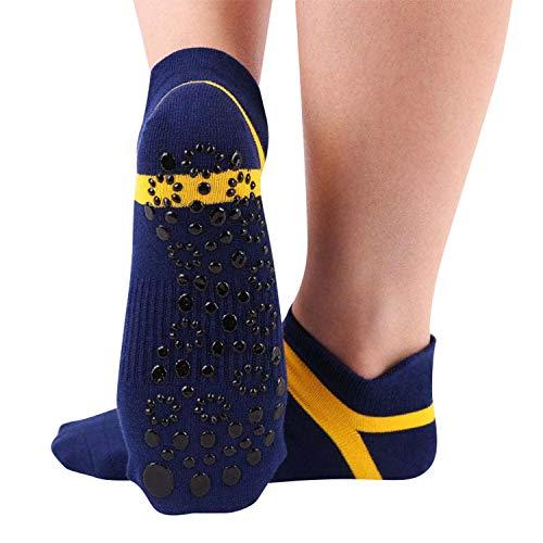 UMIPUBO 2 Pares Calcetines Yoga Antideslizante Deporte Mujer silicona gránulos de masaje Pilates Barra Ballet Danza Fitness Algodon Ankle Calcetines Cortos,Unisex Adulto