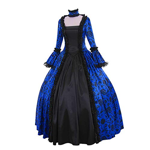 Fantastic Deal! Crazyfashion Women Fall Winter Medieval Gothic Retro Floral Print Gown Dress Ball Blue