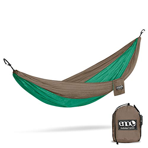 ENO, Eagles Nest Outfitters DoubleNest Lightweight Camping Hammock, 1 to 2 Person, Special Edition Colors, Emerald/Khaki